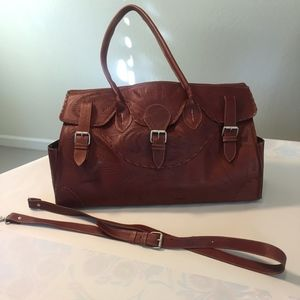Rust Brown Tooled Leather Satchel Bag